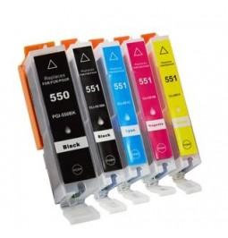 CANON PGI550XL/CLI551 Pack de 5 cartuchos compatibles