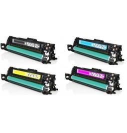 Pack de 4 tóners compatibles para HP CE250X/CE251A/CE252A/CE253A