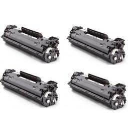 Pack de 4 Tóners compatible para HP CB436A