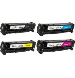 Pack de 4 tóners compatibles para HP CC530A/CC531A/CC532A/CC533A