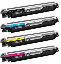 Pack de 4 tóners compatibles para HP CE310A/CE311A/CE312A/CE313A
