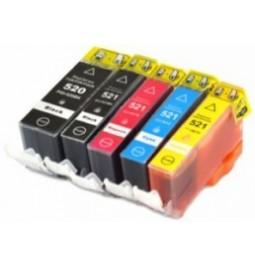 Pack de 5 cartuchos compatibles para Canon CLI521BK/C/M/Y