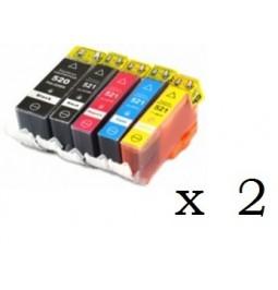 Pack de 10 cartuchos compatibles para Canon CLI521BK/C/M/Y