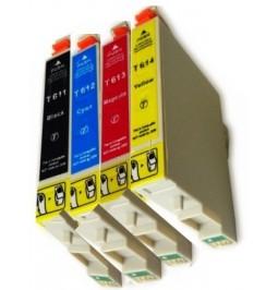 Pack de 4 cartuchos compatibles para Epson T0611/2/3/4
