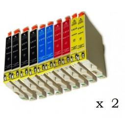 Pack de 20 cartuchos compatibles para Epson T0611/2/3/4