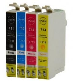 Pack de 4 cartuchos compatibles para Epson T0711/2/3/4