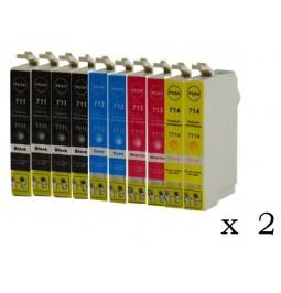 Pack de 20 cartuchos compatibles para Epson T0711/2/3/4