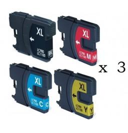 Pack de 12 Cartutxos compatibles per a Brother LC-980BK/C/M/Y