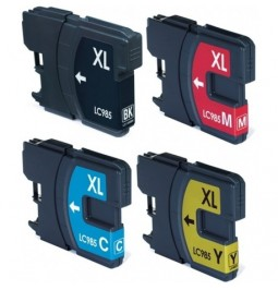 Pack de 4 cartuchos compatibles para Brother LC-985BK/C/M/Y