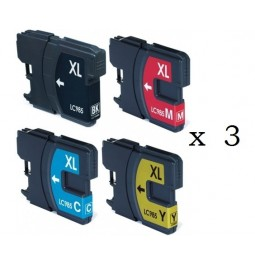 Pack de 12 cartuchos compatibles para Brother LC-985BK/C/M/Y