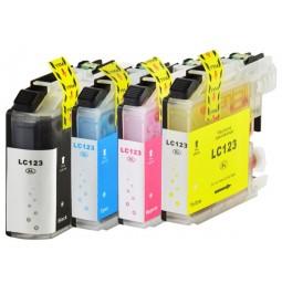 Pack de 4 cartuchos compatibles para Brother LC123BK/LC123C/LC123M/LC123Y