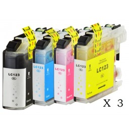 Pack de 12 cartuchos compatibles para Brother LC123BK/LC123C/LC123M/LC123Y