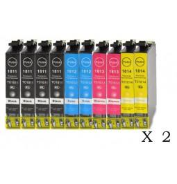 Pack de 20 cartuchos compatibles para Epson (18XL) T1811/T1812/T1813/T1814