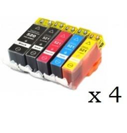 Pack de 20 cartuchos compatibles para Canon CLI521BK/C/M/Y