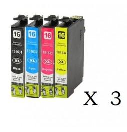 Pack de 10 cartuchos compatibles para Epson 16XL (T1631/T1632/T1633/T1634)
