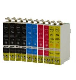 Pack de 10 cartuchos compatibles para Epson T0711/T0712/T0713/T0714